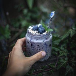 Overnight oats med blåbär och Kärleksblandning
